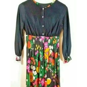 Vintage Maxi Dress Flower Power Vibrant Boho